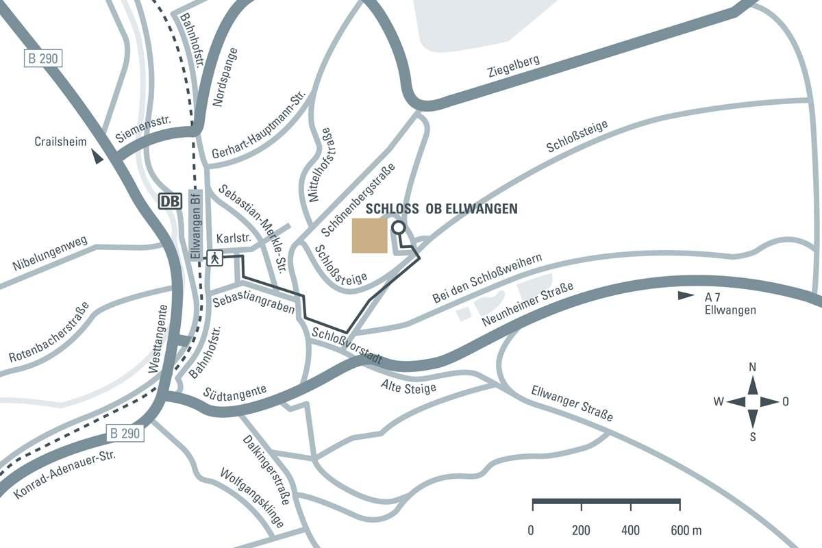 Anfahrtsskizze zum Neuen Schloss Ellwangen
