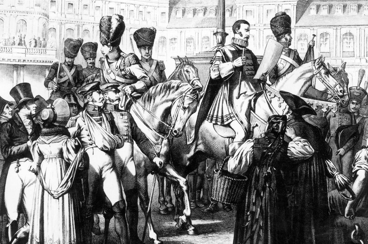 Bildnis Friedrichs I., wie er Württemberg zum Königreich ausruft