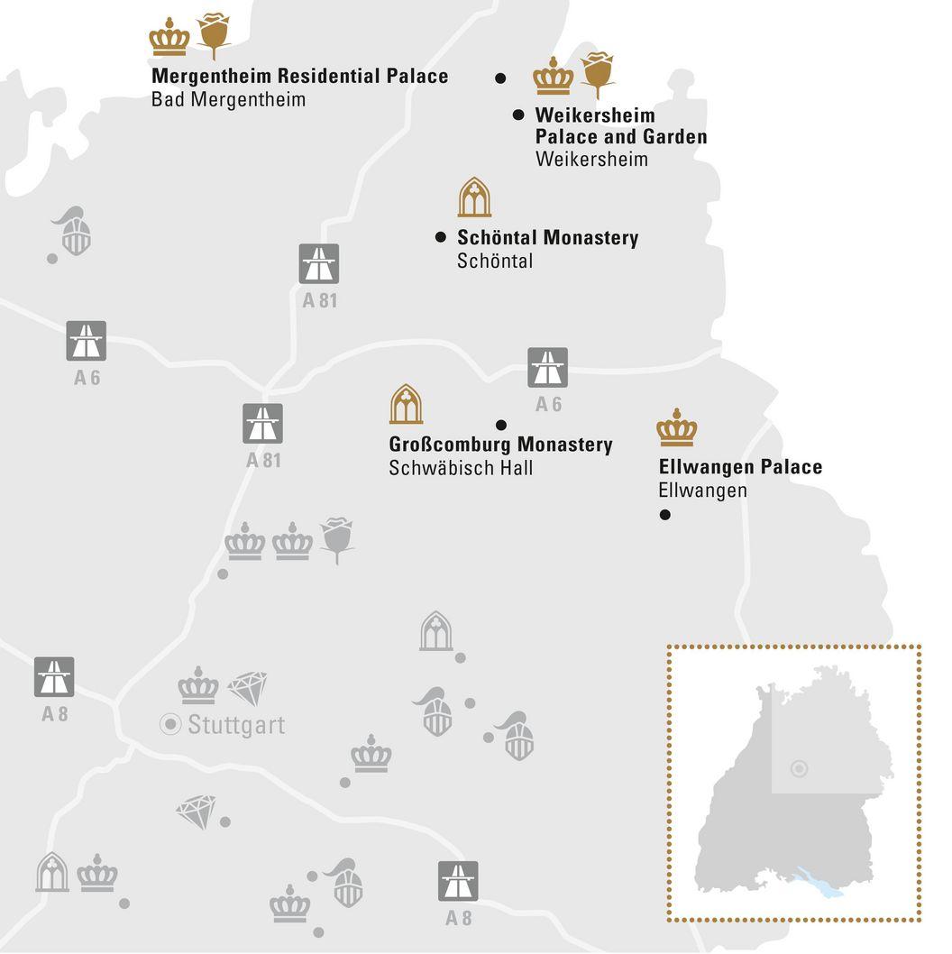 journey map, Illustration: Staatliche Schlösser und Gärten Baden-Württemberg, JUNG:Kommunikation GmbH