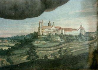 Gemälde mit Ansicht des Schlosses ob Ellwangen am linken Seitenaltar der Schlosskapelle