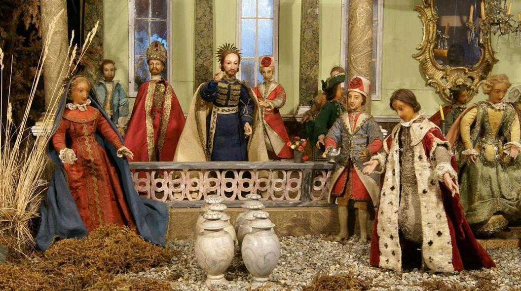 Barockkrippe mit der Darstellung der Hochzeit von Kana im Museum von Schloss ob Ellwangen