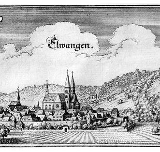 Kupferstich von Matthäus Merian von Schloss und Stadt Ellwangen von 1643
