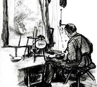 Zeichnung eines Schusters von Karl Stirner, der ebenfalls einen Bereich im Museum von Schloss ob Ellwangen hat